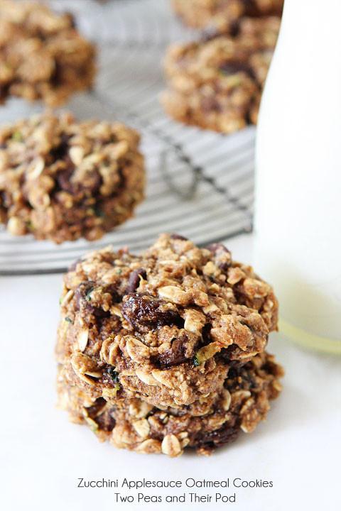 Healthy Oatmeal Raisin Cookies Applesauce  Zucchini Applesauce Oatmeal Cookies
