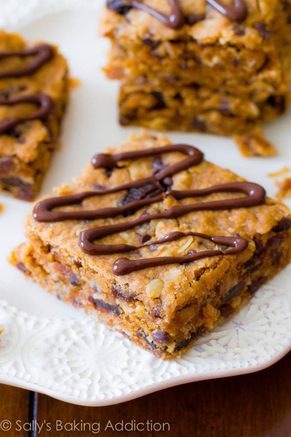 Healthy Oatmeal Snacks  Healthy Peanut Butter Chunk Oatmeal Bars Sallys Baking