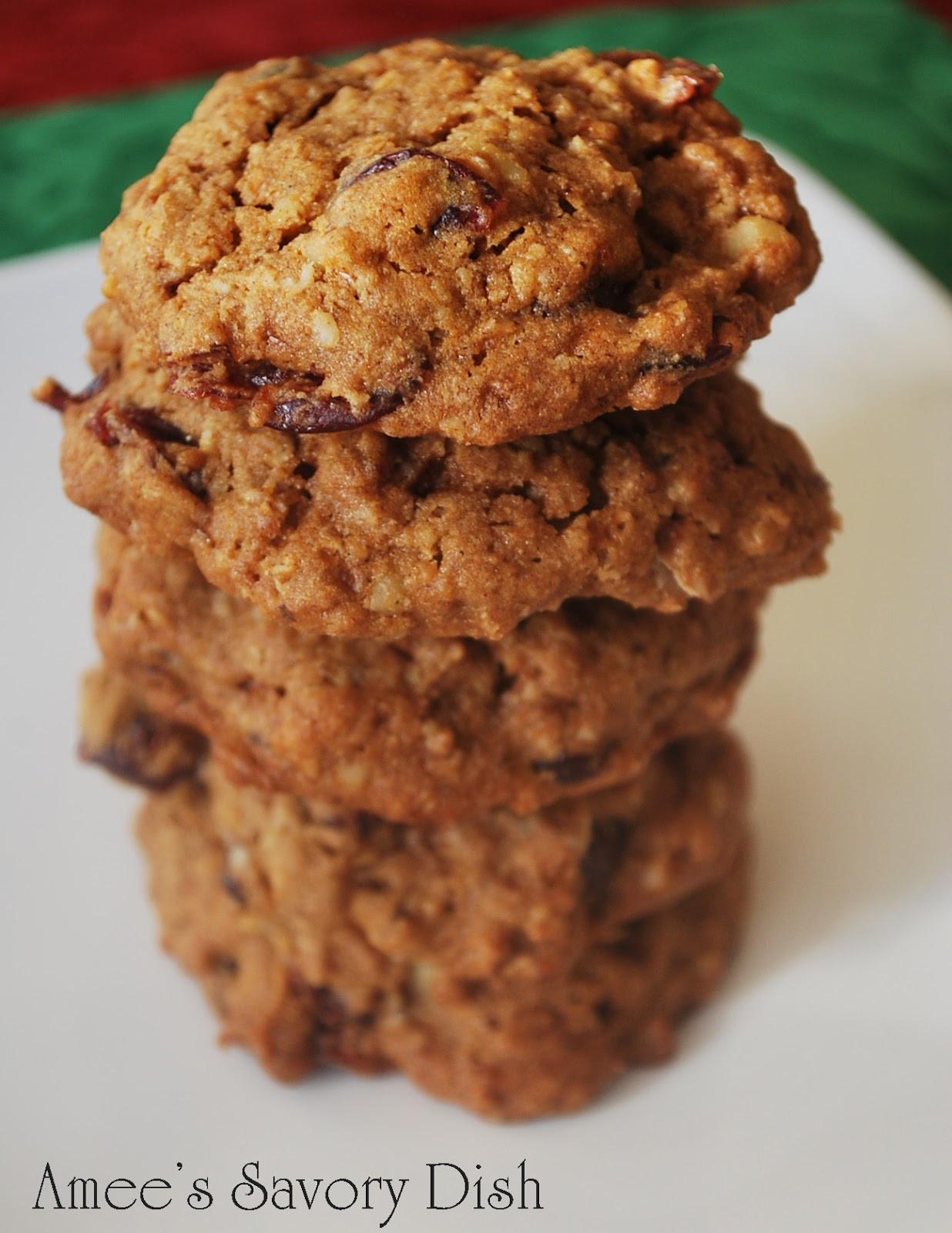 Healthy Oatmeal Walnut Cookies  Cranberry Walnut Oatmeal Cookies Amee s Savory Dish