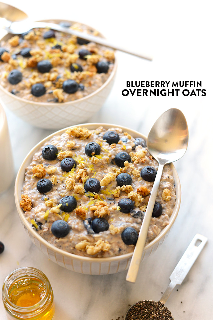 Healthy Oats Breakfast  Blueberry Muffin Overnight Oats Fit Foo Finds