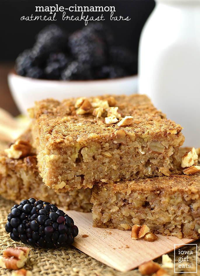 Healthy On The Go Breakfast Bars  Maple Cinnamon Oatmeal Breakfast Bars Video Iowa Girl Eats