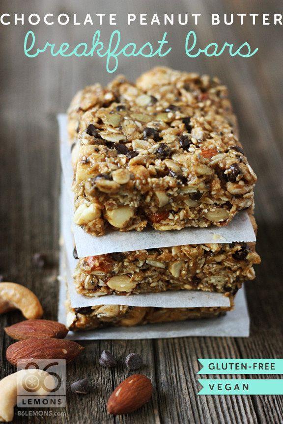 Healthy On The Go Breakfast Bars  Chocolate Peanut Butter Breakfast Bars