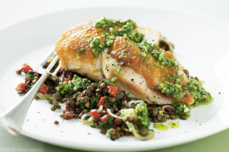 Healthy Pan Fried Chicken  Pan fried chicken on lentils with pesto Recipes