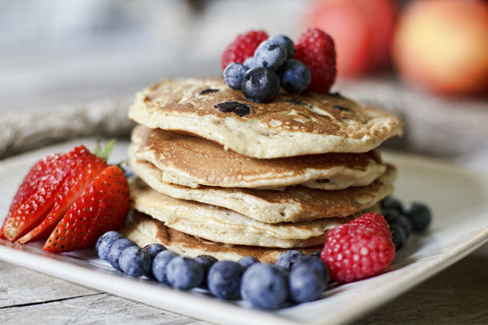 Healthy Pancakes From Scratch  Honey Oat & Blueberry Pancakes The Fresh Fridge
