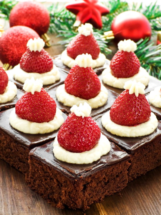 Healthy Party Desserts  Santa Hat Mini Brownies – Healthy Christmas Party Dinner