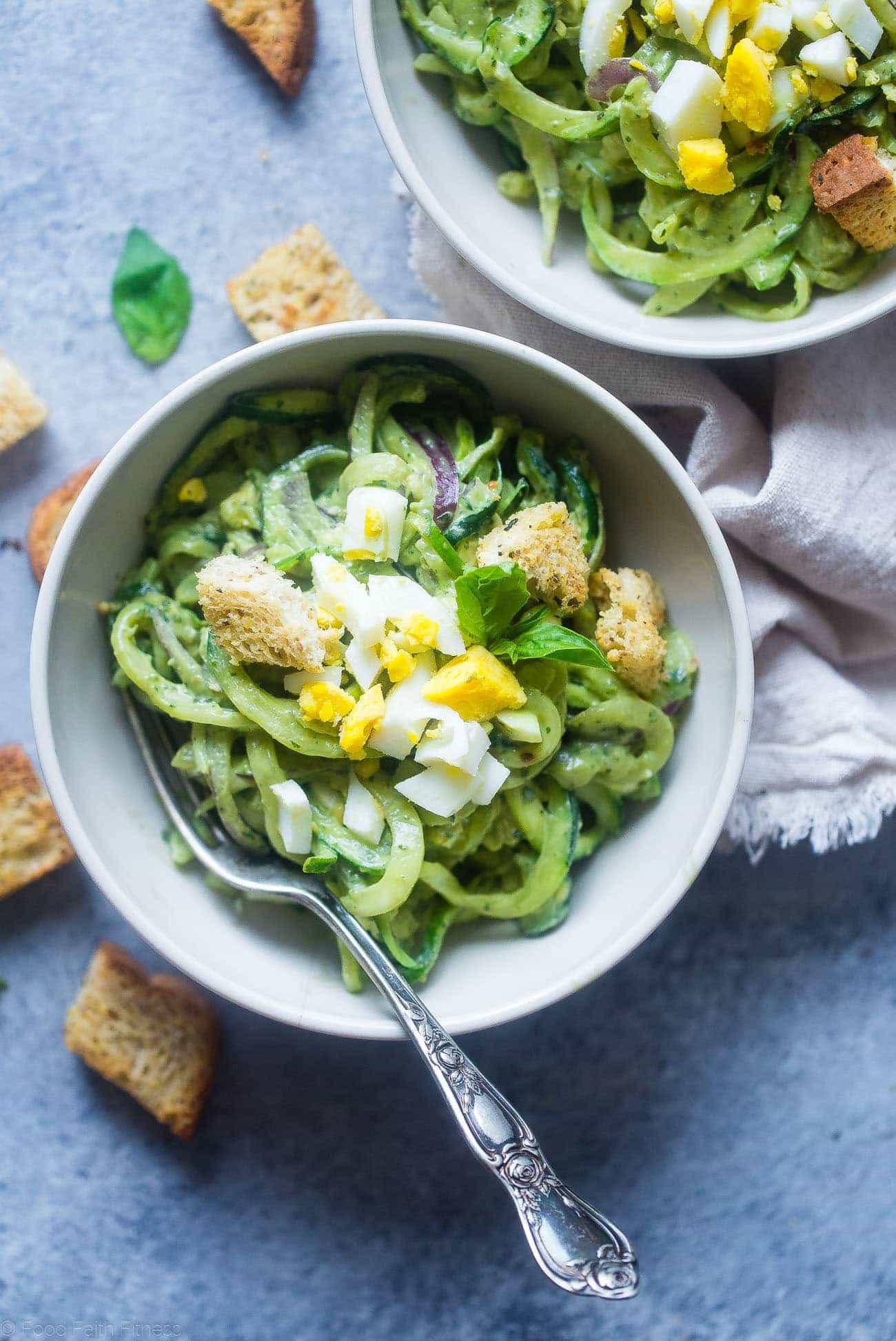 Healthy Pasta Noodles  Avocado Pesto Healthy Pasta Salad with Zucchini Noodles