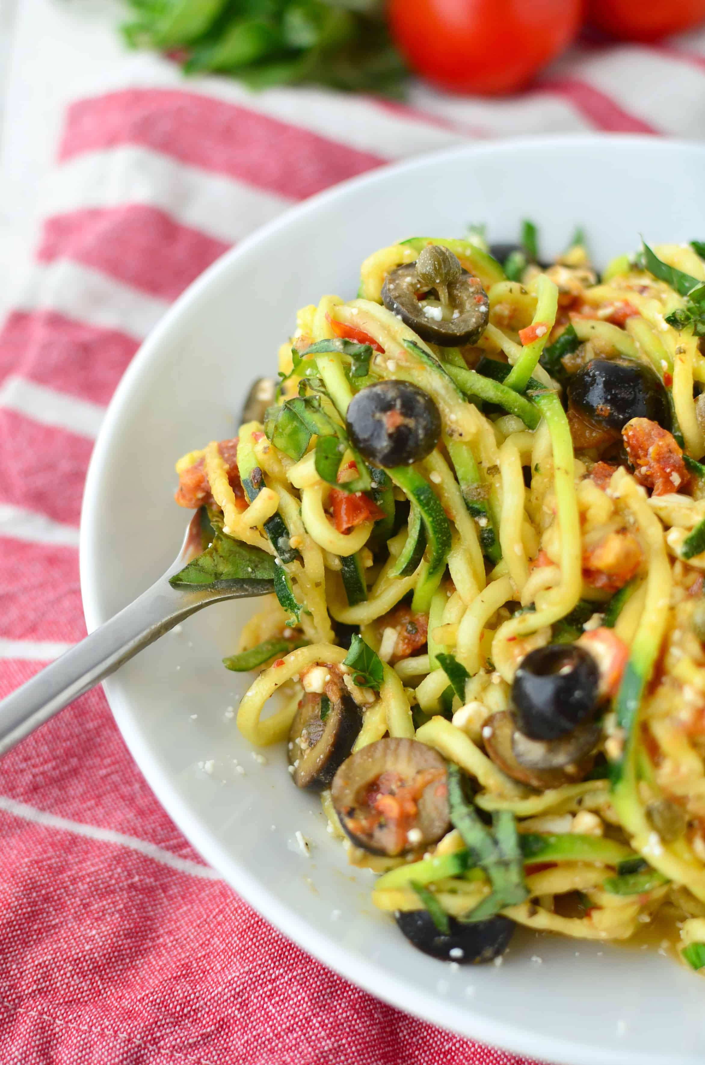 Healthy Pasta Noodles  Mediterranean Zucchini Noodles Delish Knowledge