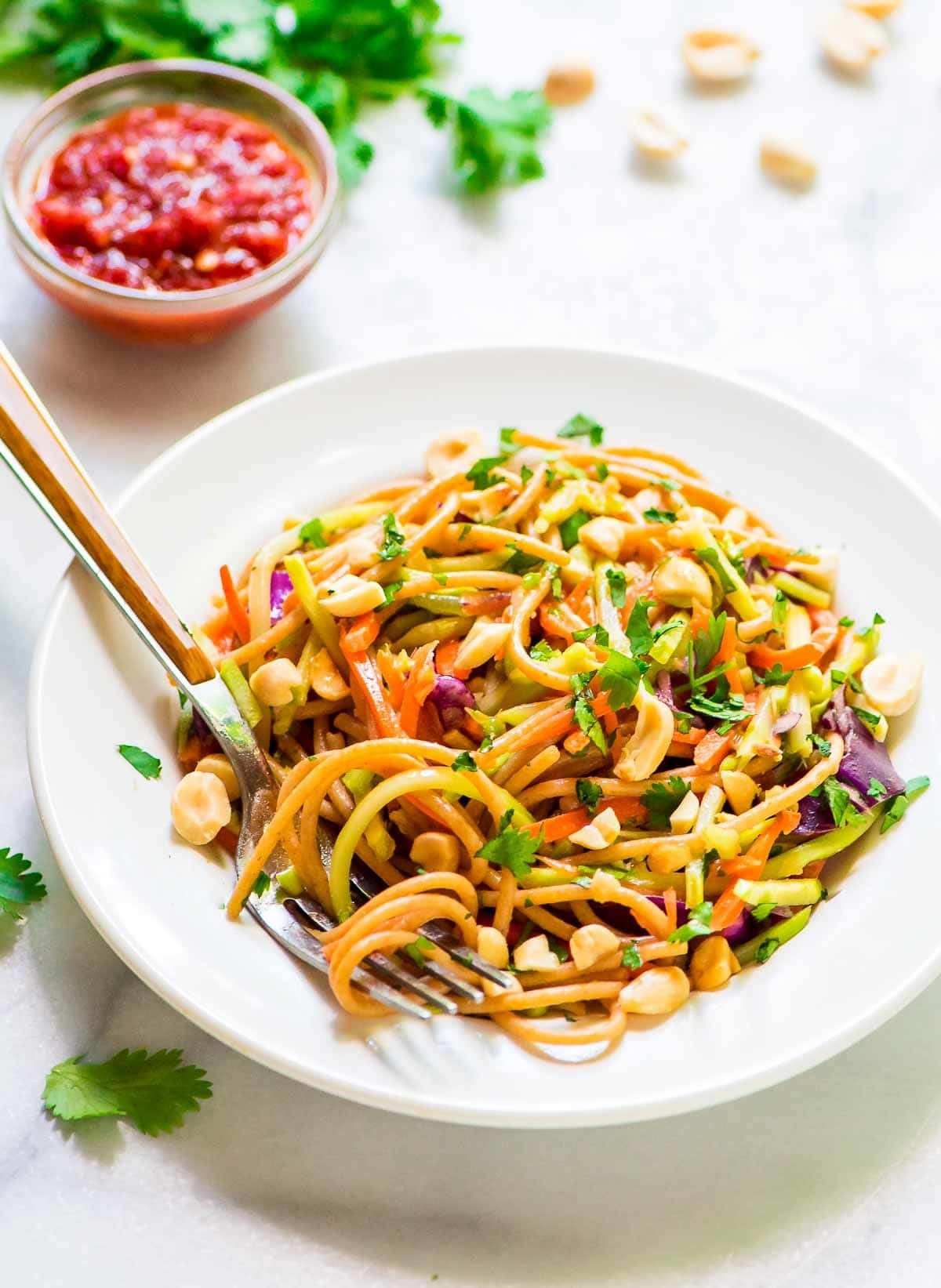 Healthy Pasta Noodles  Asian Noodle Salad with Creamy Peanut Dressing