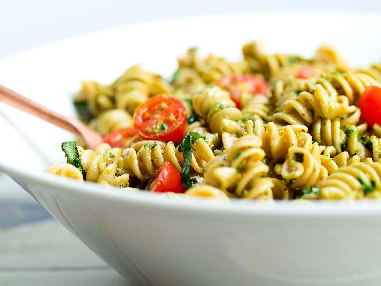 Healthy Pasta Salad  Pesto Pasta Salad Happy Healthy Mama