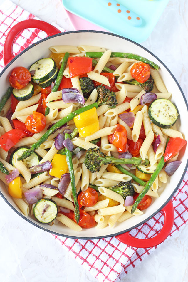 Healthy Pasta Salad Vegetarian  Roasted Ve able Pasta Salad