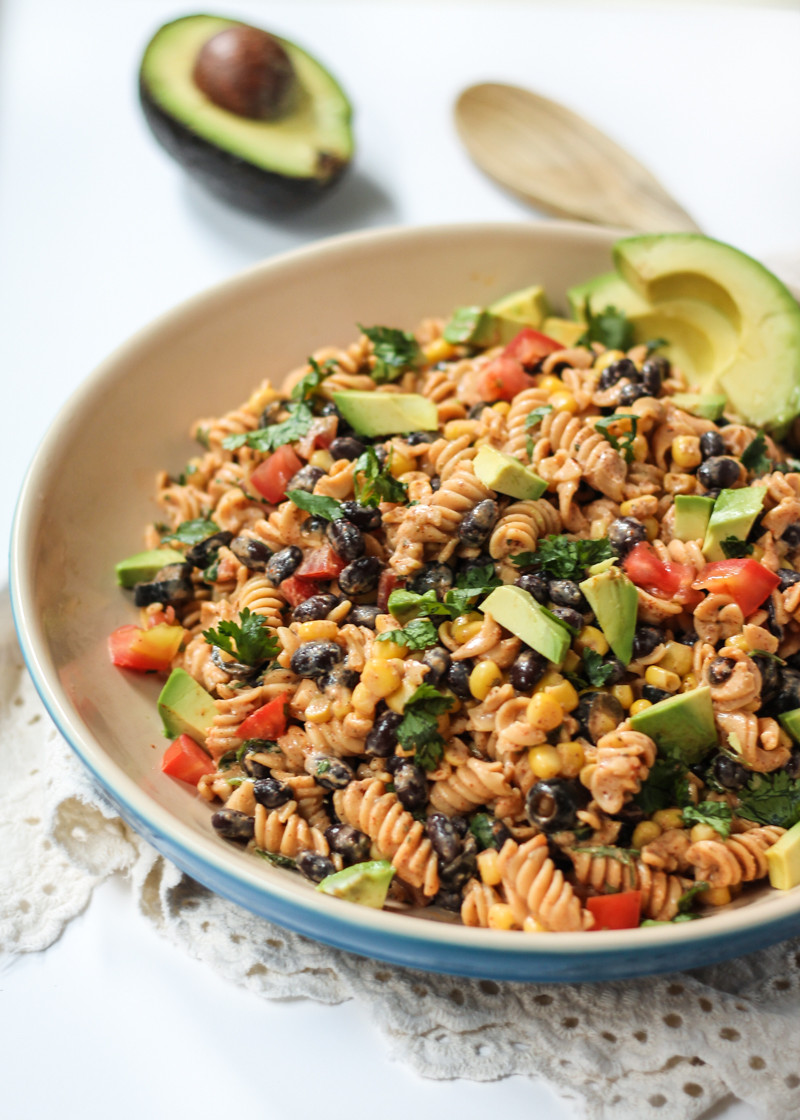 Healthy Pasta Salad Vegetarian  Healthy Southwest Pasta Salad with Chipotle Lime Dressing