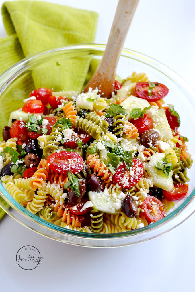 Healthy Pasta Salads  Greek Pasta Salad A Pinch of Healthy