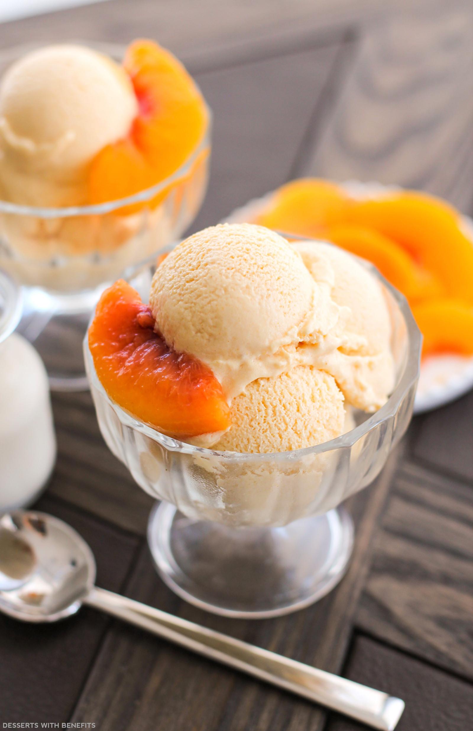 Healthy Peach Desserts  Healthy Peaches and Cream Ice Cream Recipe No Sugar Added