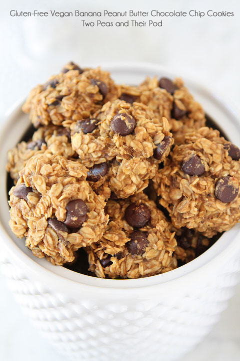 Healthy Peanut Butter Chocolate Chip Cookies  Gluten Free Vegan Banana Peanut Butter Chocolate Chip