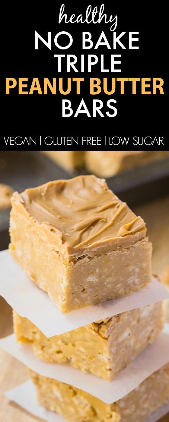 Healthy Peanut Butter Dessert Recipes  Healthy No Bake Triple Peanut Butter Bars