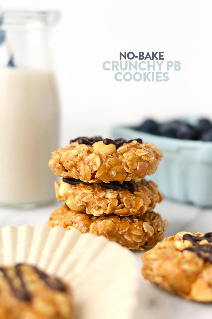 Healthy Peanut Butter No Bake Cookies  Healthy No Bake Peanut Butter Cookies with Crunchy Peanuts
