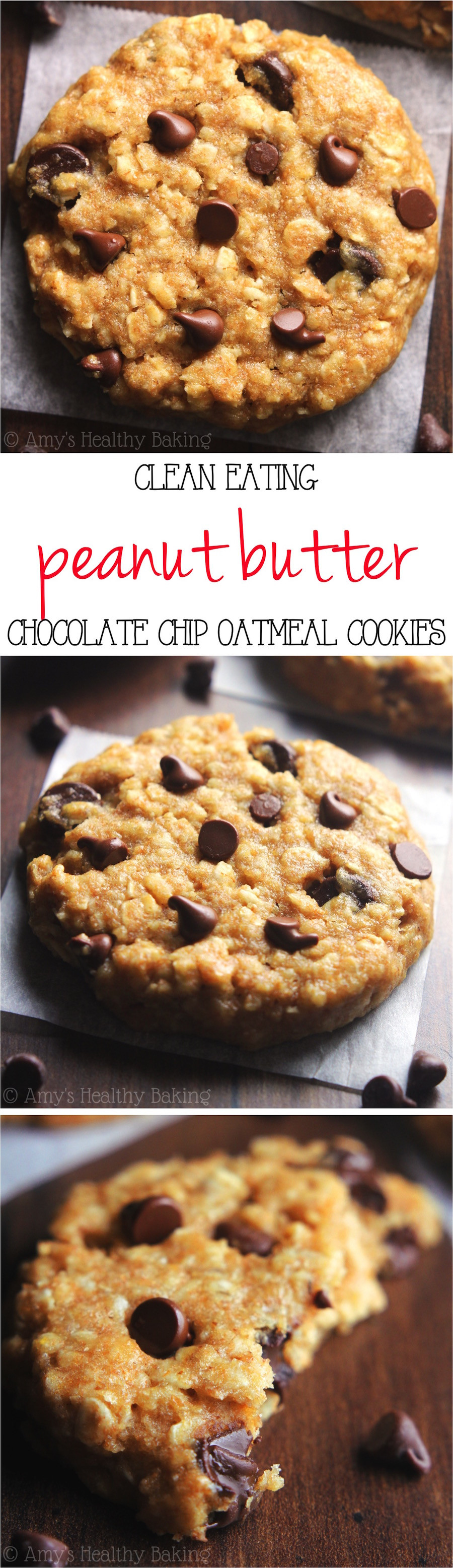 Healthy Peanut Butter Oatmeal Chocolate Chip Cookies  healthy oatmeal peanut butter chocolate chip cookies recipe
