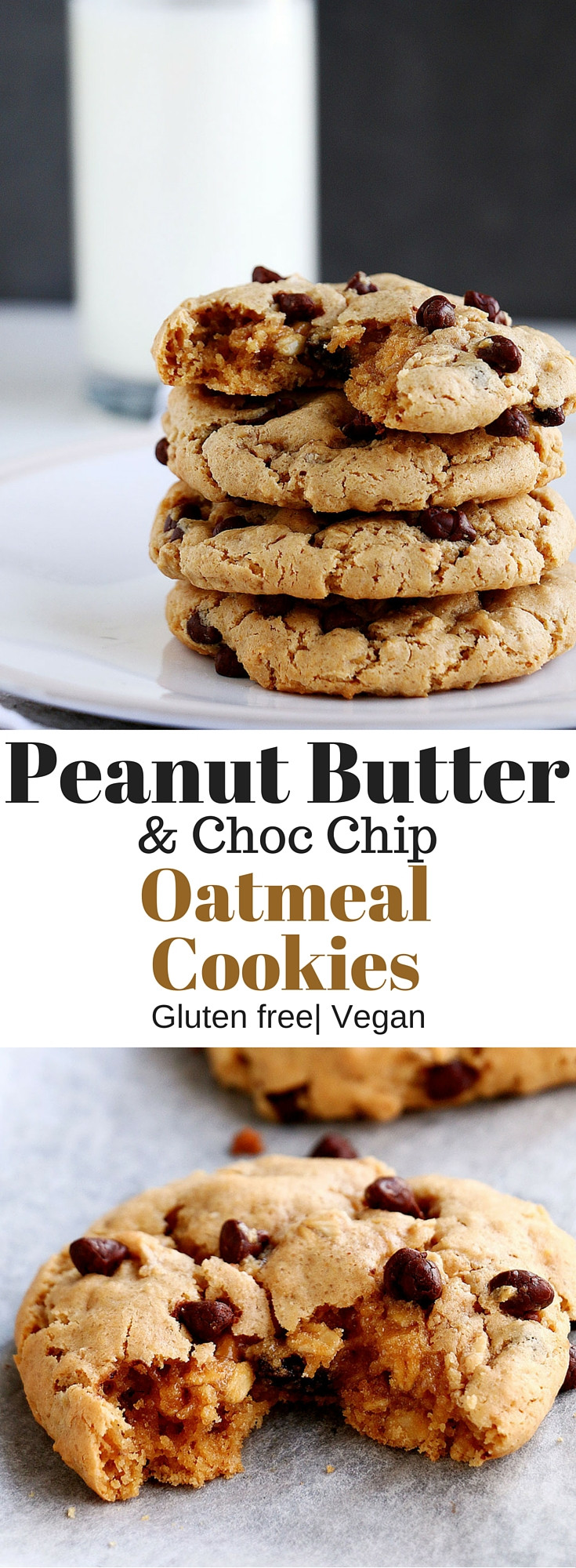 Healthy Peanut Butter Oatmeal Chocolate Chip Cookies  Peanut Butter & Choc Chip Oatmeal Cookies Baking Ginger