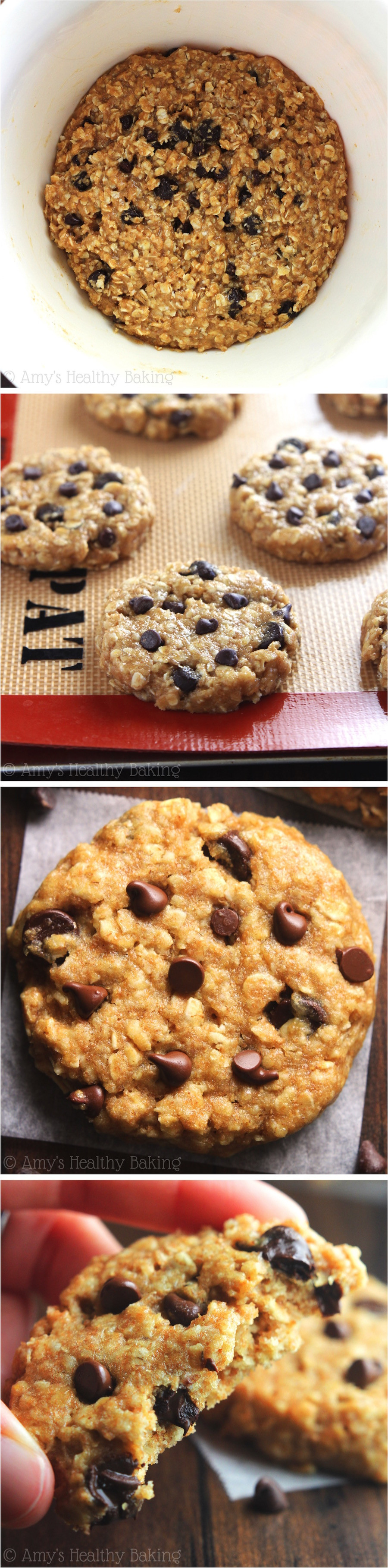 Healthy Peanut Butter Oatmeal Chocolate Chip Cookies  healthy peanut butter oatmeal cookies