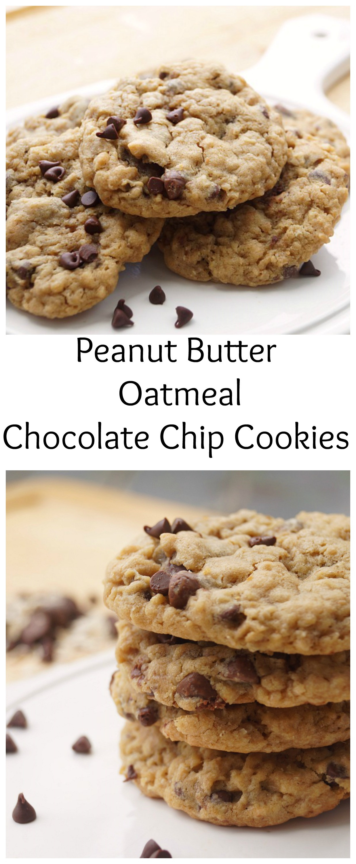 Healthy Peanut Butter Oatmeal Chocolate Chip Cookies  Peanut Butter Oatmeal Chocolate Chip Cookies