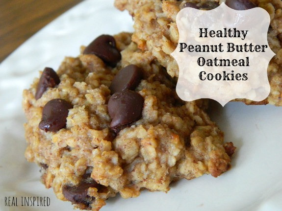 Healthy Peanut Butter Oatmeal Cookies  Real Inspired Healthy Peanut Butter Oatmeal Cookies