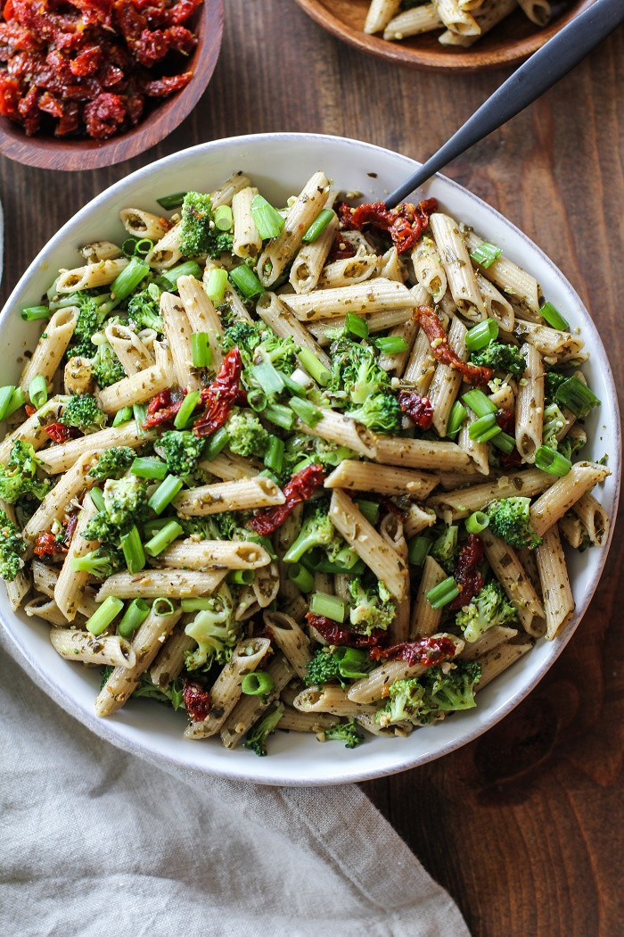 Healthy Pesto Pasta Salad Recipe  Kale Pesto Pasta Salad with Sun Dried Tomatoes and
