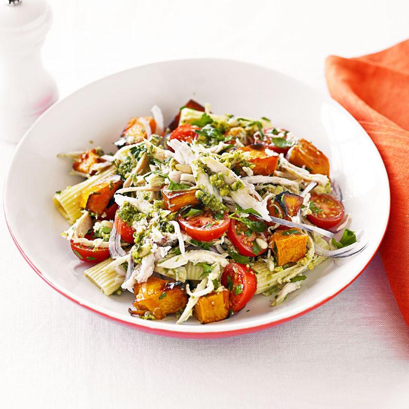 Healthy Pesto Pasta Salad Recipe  Chicken pesto and roast pumpkin pasta salad