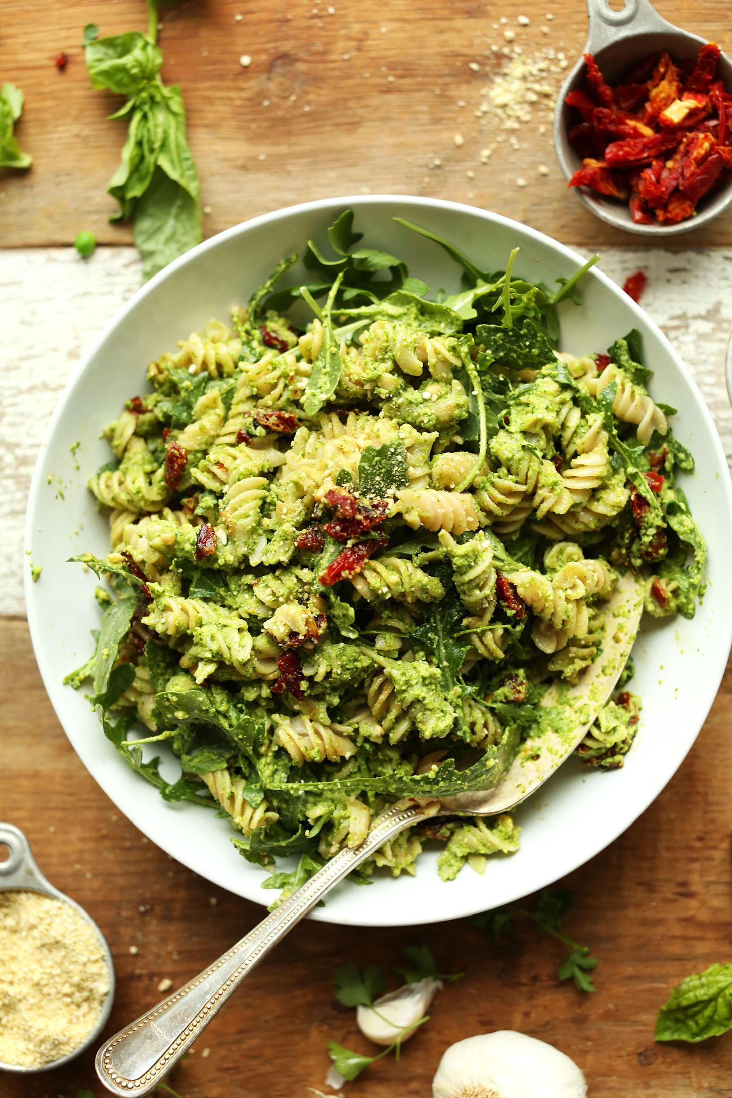 Healthy Pesto Pasta Salad Recipe  Pea Pesto Pasta with Sun Dried Tomatoes