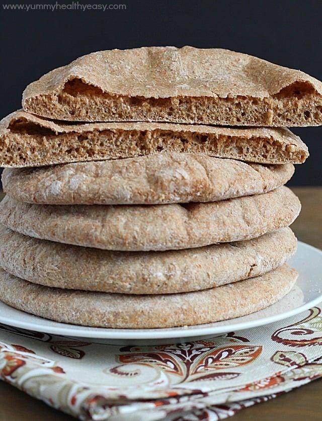 Healthy Pita Bread Recipe  Homemade Whole Wheat Pita Bread Yummy Healthy Easy