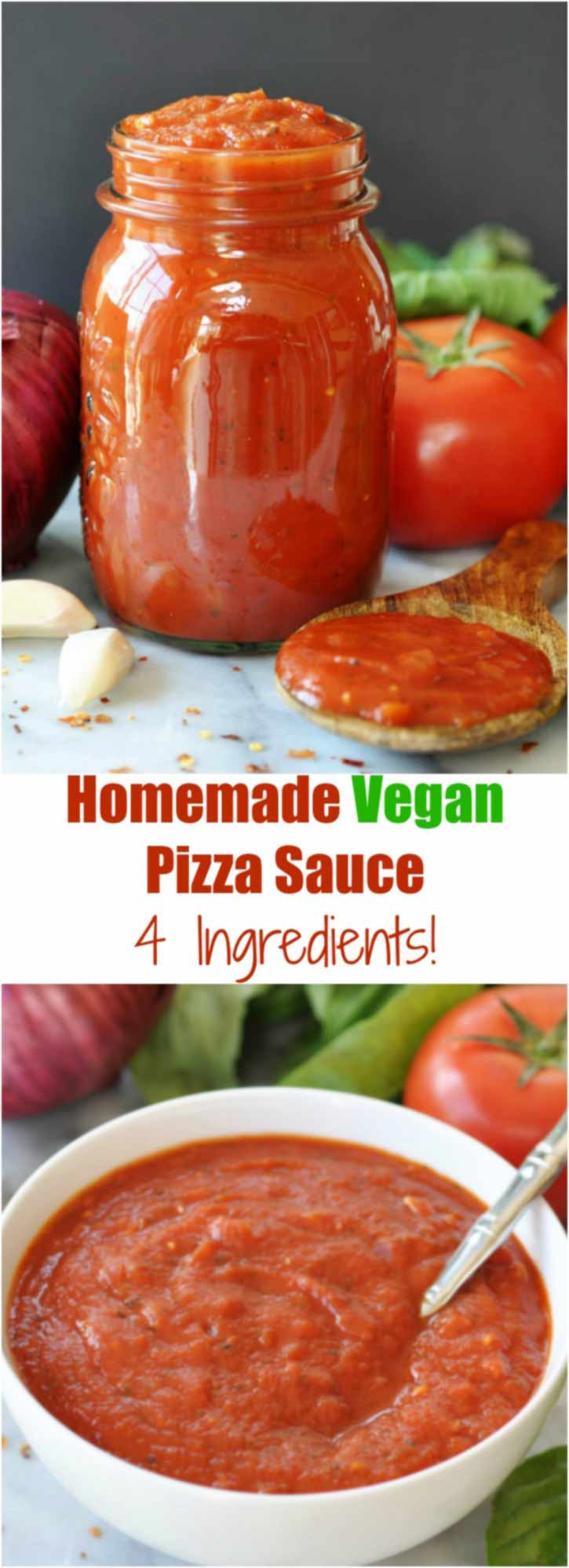 Healthy Pizza Sauce Recipe  4 Ingre nt Homemade Vegan Pizza Sauce Veganosity
