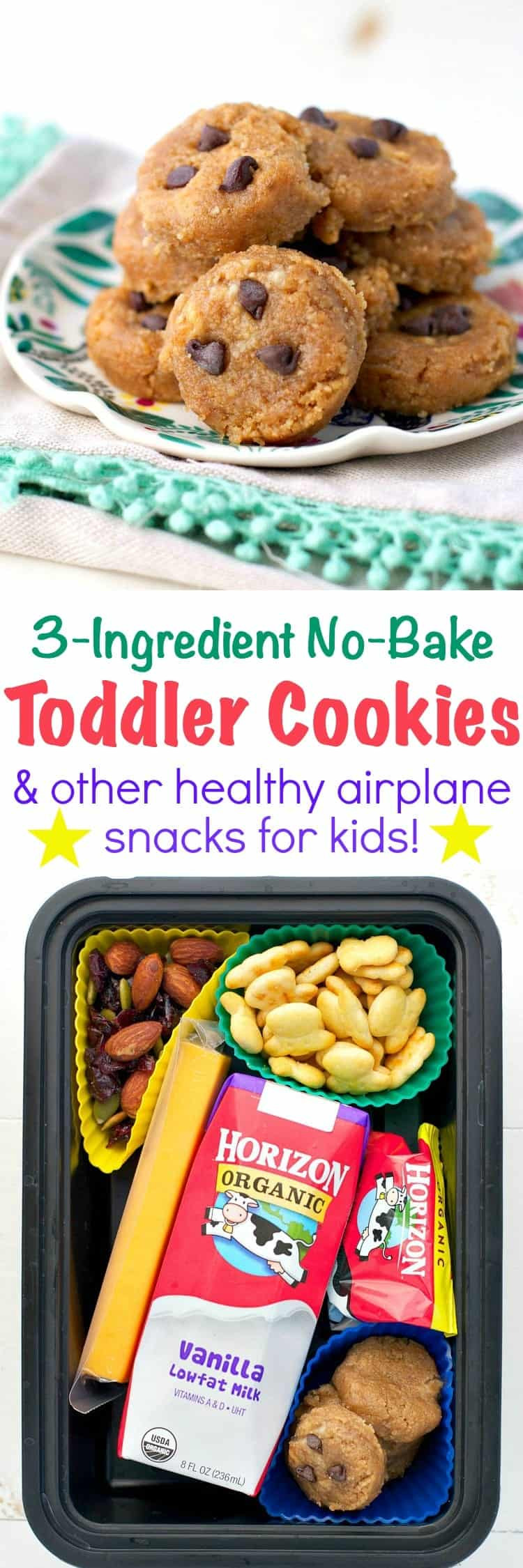 Healthy Plane Snacks  3 Ingre nt No Bake Toddler Cookies Airplane Snacks for