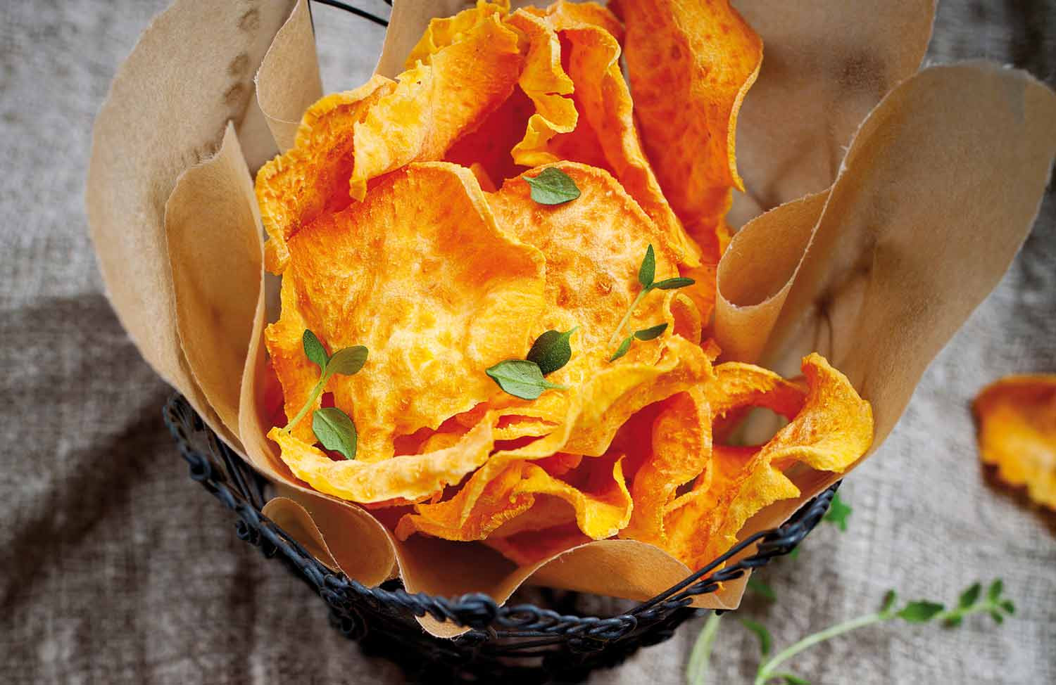 Healthy Potato Chips  Healthy sweet potato chips with thyme and chilli salt