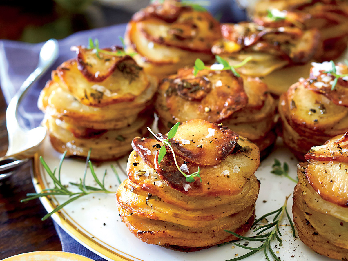 Healthy Potato Side Dishes  Herbed Potato Stacks Recipe Southern Living