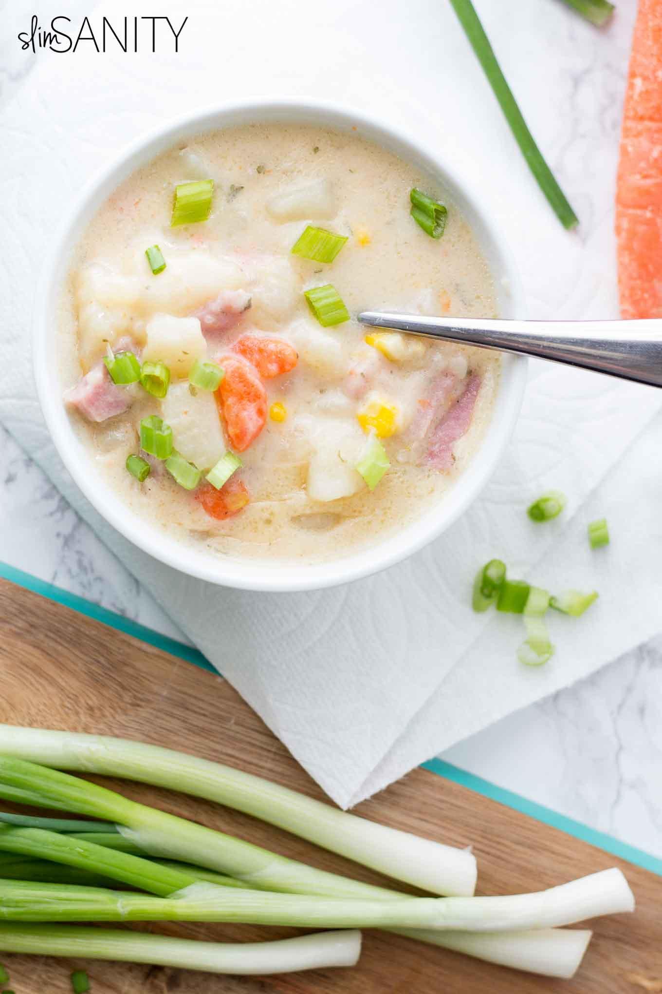 Healthy Potato Soup  Healthy Loaded Potato Soup Slim Sanity