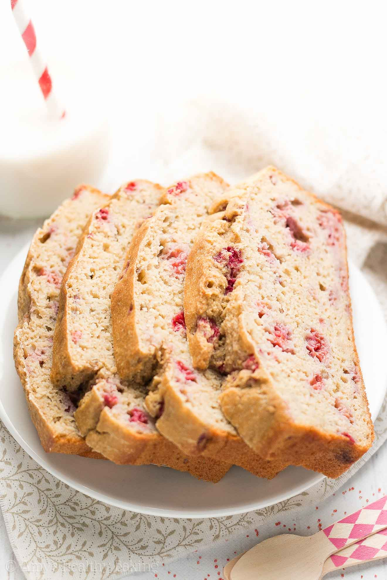 Healthy Pound Cake  Healthy Greek Yogurt Raspberry Almond Pound Cake