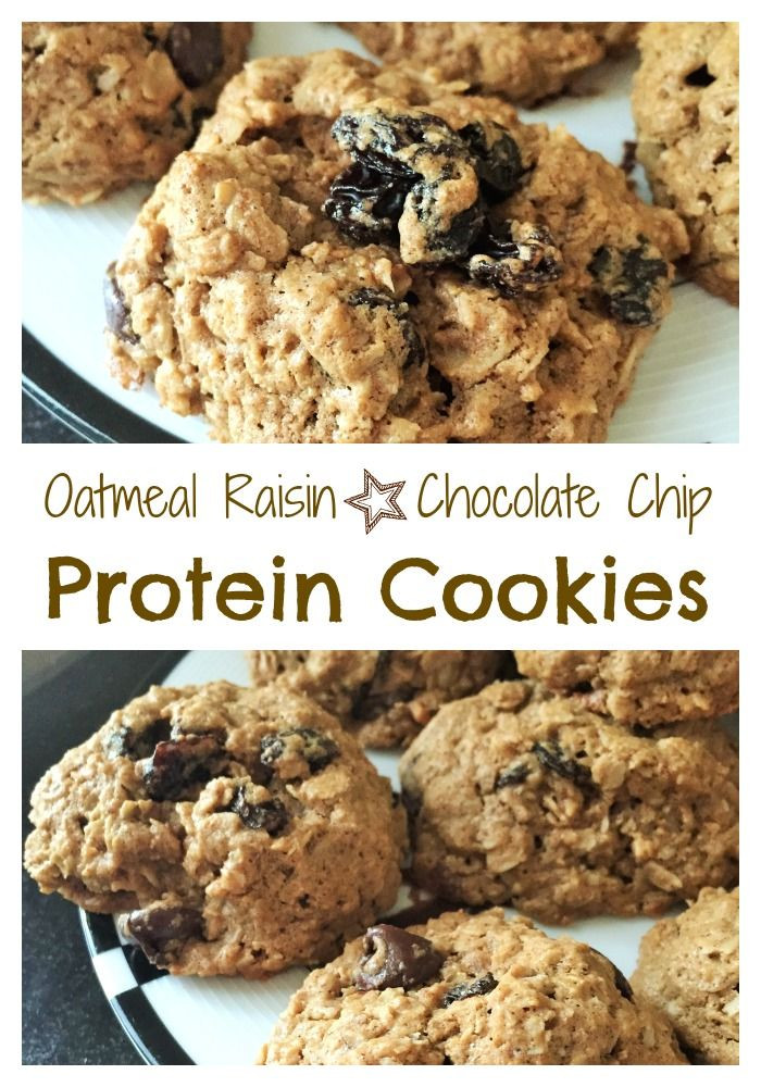 Healthy Protein Oatmeal Cookies  Oatmeal Raisin Chocolate Chip Protein Cookies