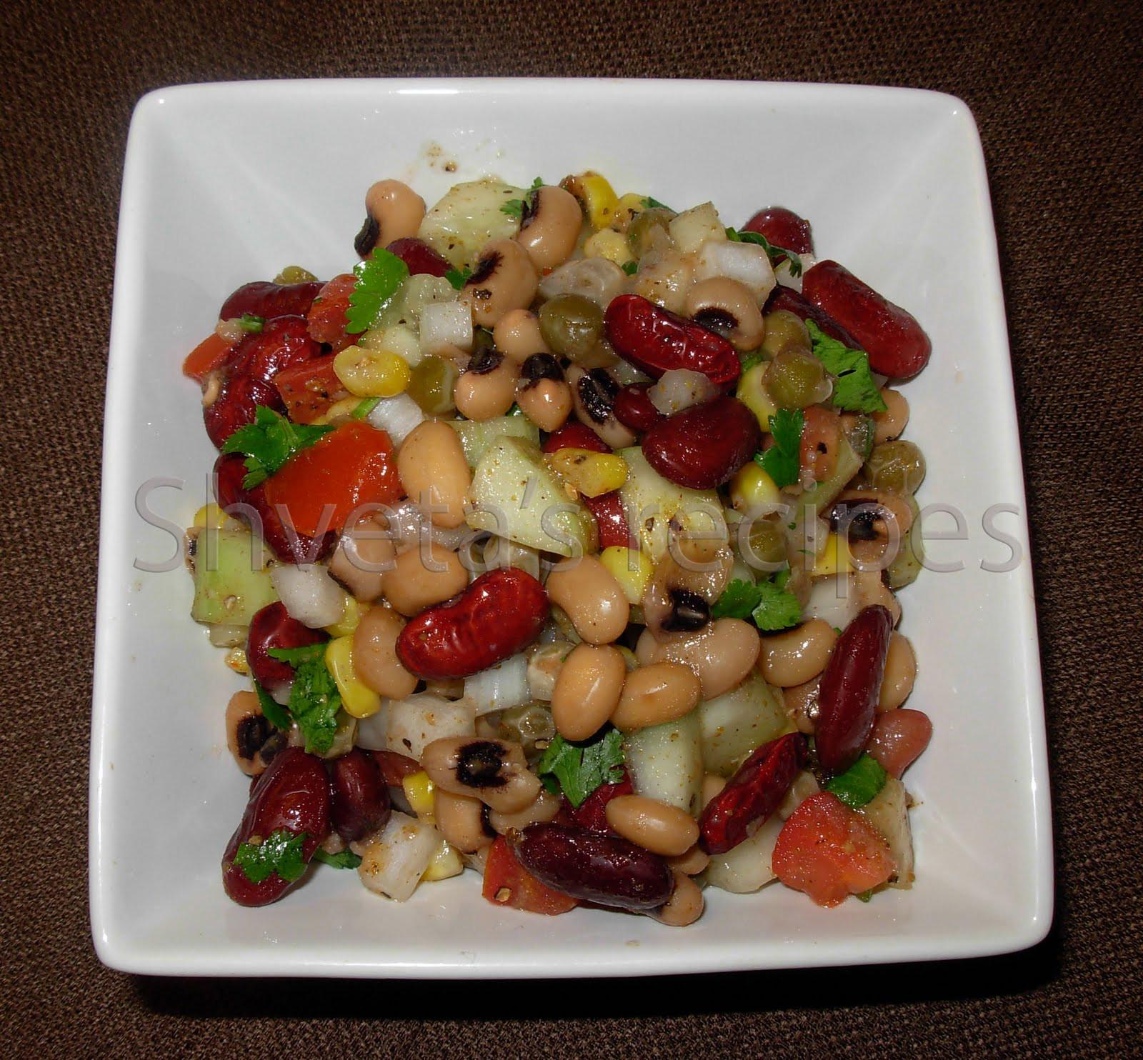 Healthy Protein Salads  Shveta s Recipes Celebrating Health High Protein Bean Salad