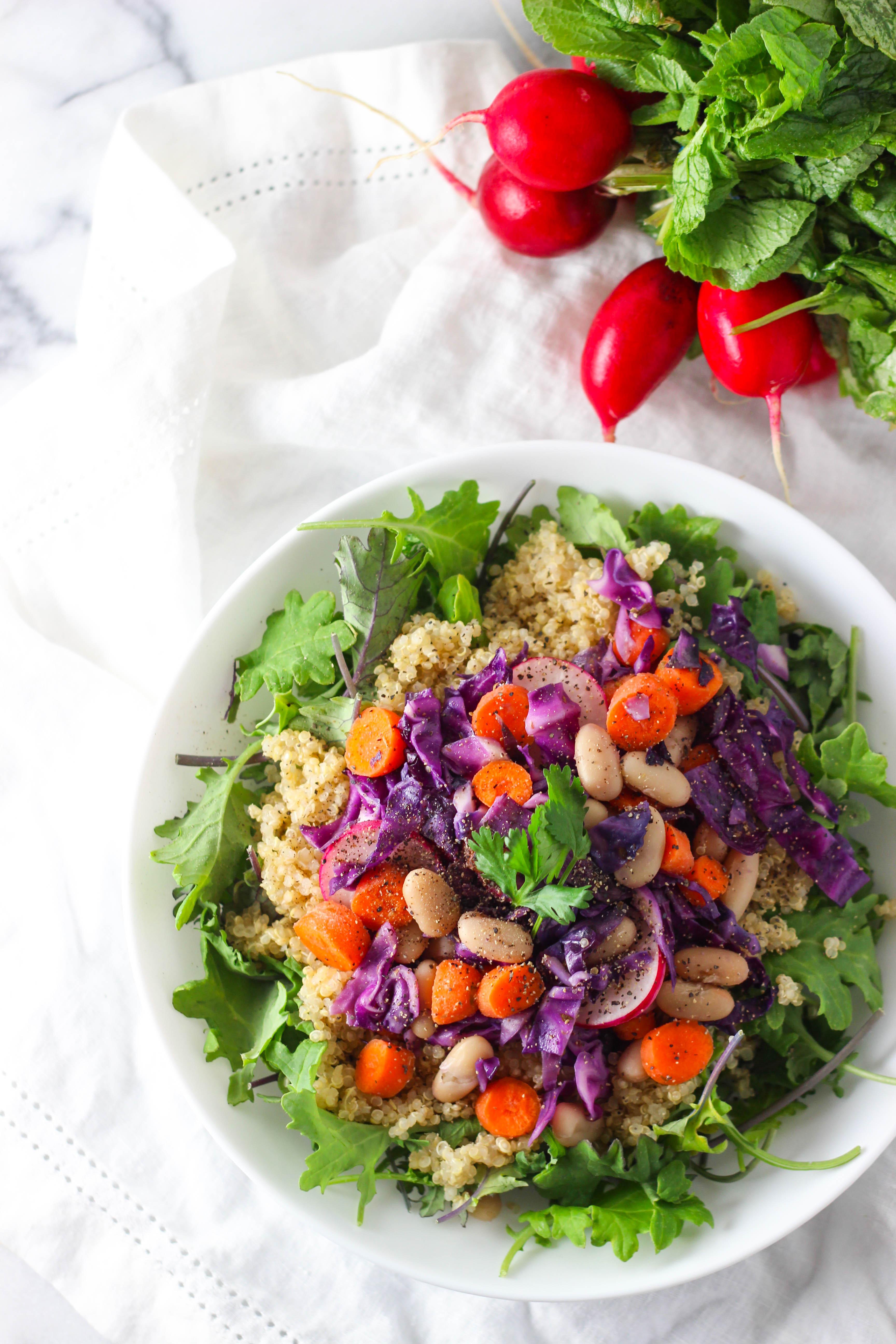 Healthy Protein Salads  White Bean Quinoa Rainbow Salad Exploring Healthy Foods