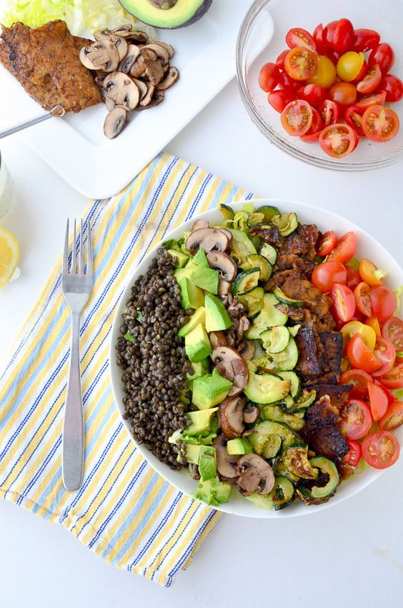 Healthy Protein Salads  Bacon Lentil salad and Protein on Pinterest