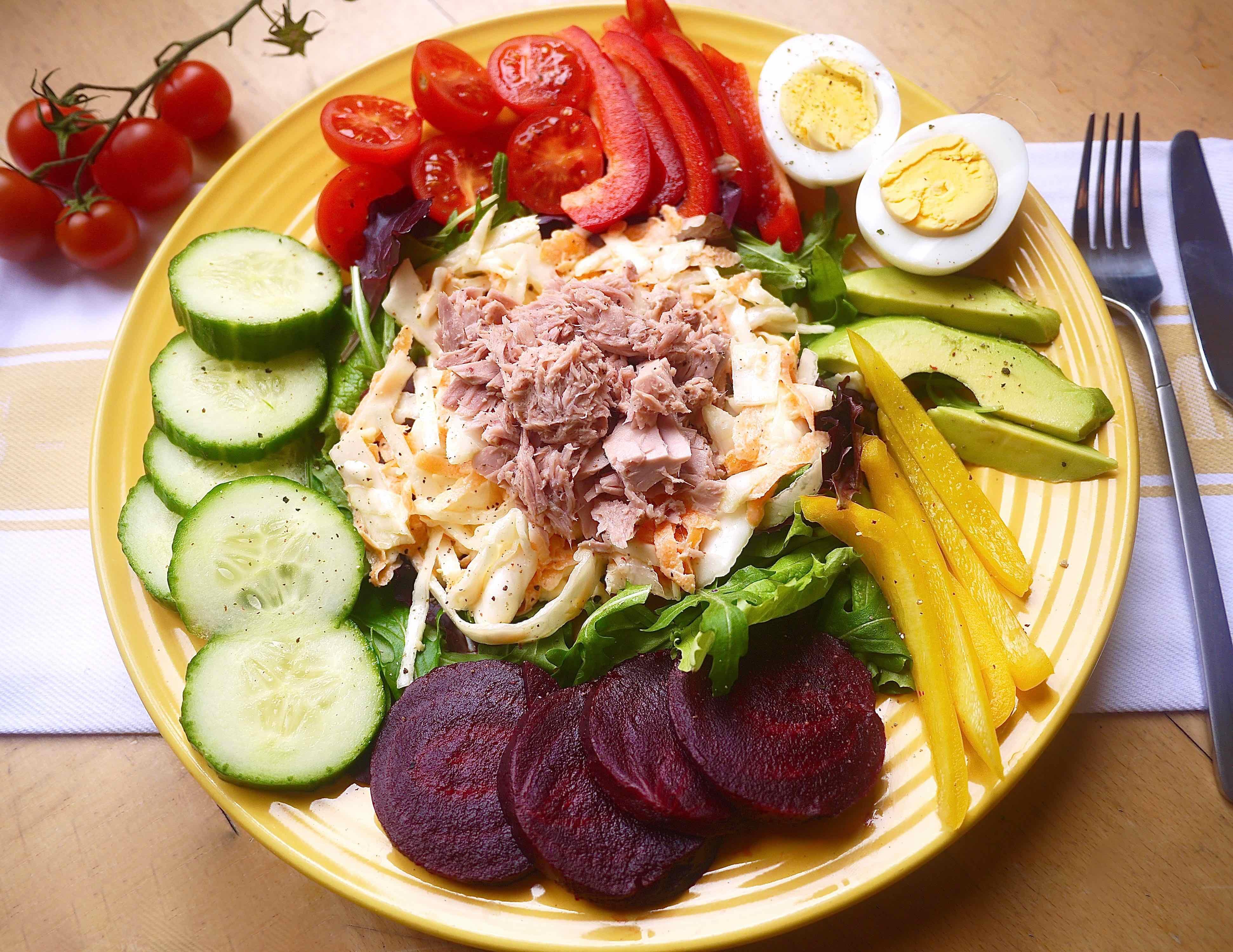 Healthy Protein Salads  Fresh Tuna Coleslaw Protein Salad paleo GF