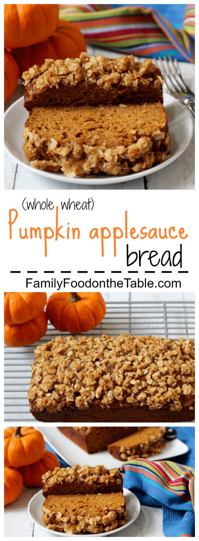 Healthy Pumpkin Bread With Applesauce  Whole wheat pumpkin applesauce bread Family Food on the