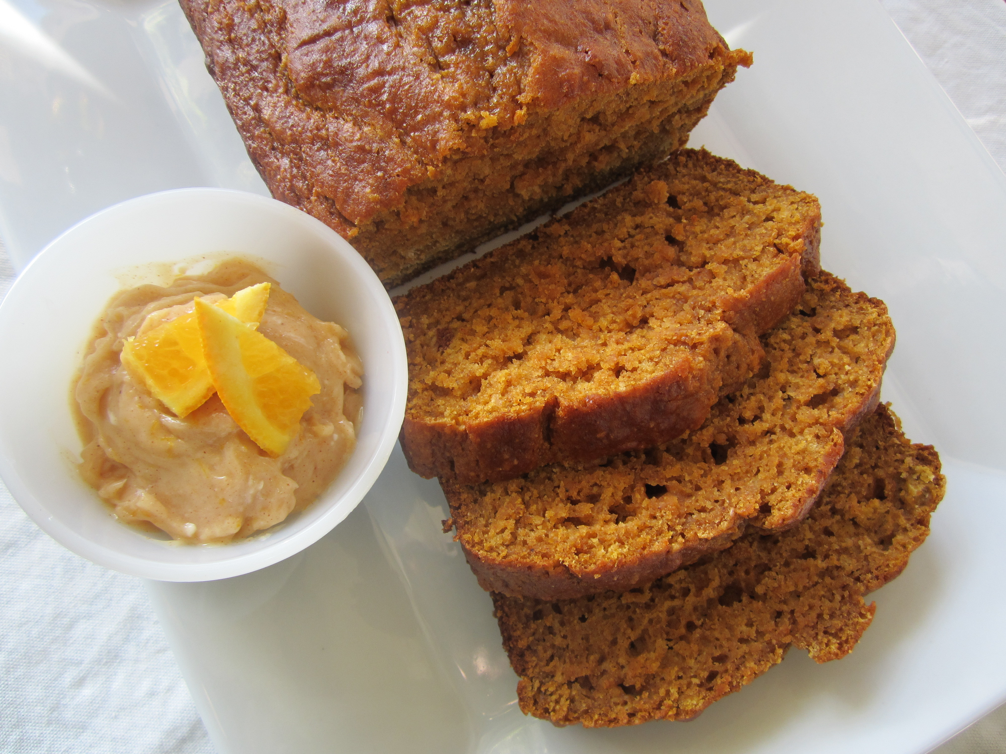 Healthy Pumpkin Bread With Applesauce  Pumpkin Bread and Orange Cinnamon Honey Butter