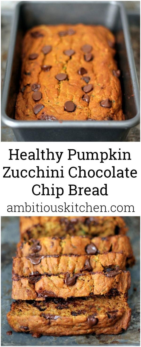 Healthy Pumpkin Chocolate Chip Bread  Healthy Pumpkin Zucchini Chocolate Chip Bread