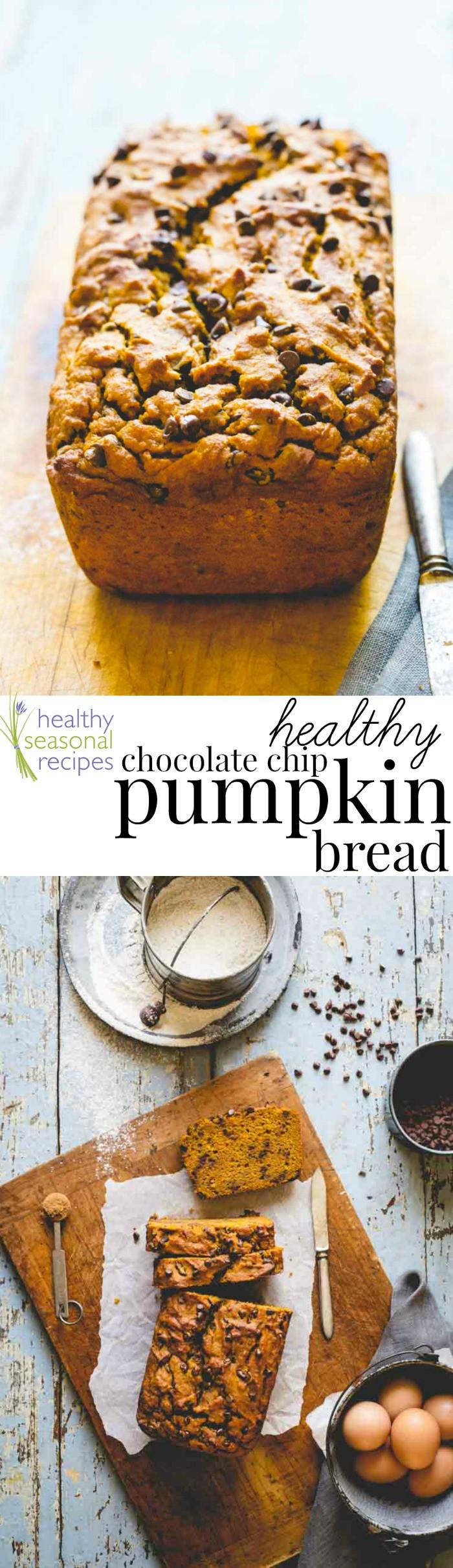 Healthy Pumpkin Chocolate Chip Bread  healthy chocolate chip pumpkin bread Healthy Seasonal