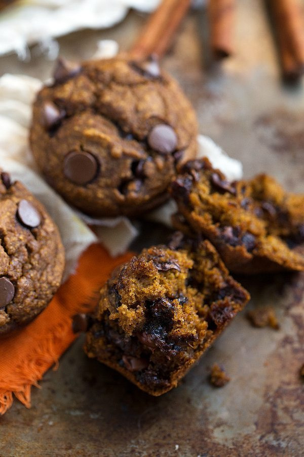 Healthy Pumpkin Chocolate Chip Muffins  No white flour butter or oil in these muffins So