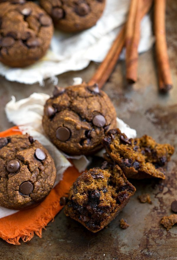 Healthy Pumpkin Chocolate Chip Muffins  Skinny & Healthy Pumpkin Chocolate Chip Muffins