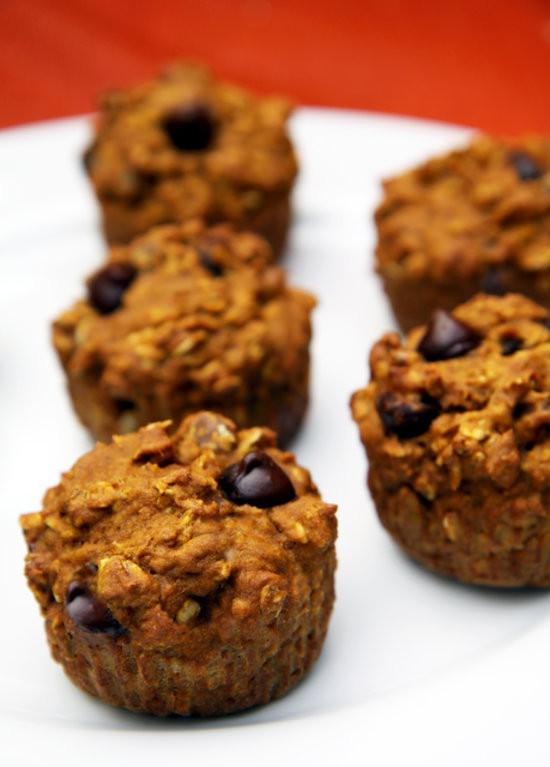 Healthy Pumpkin Chocolate Chip Muffins  Healthy Recipe Oatmeal Dark Chocolate Chip Pumpkin