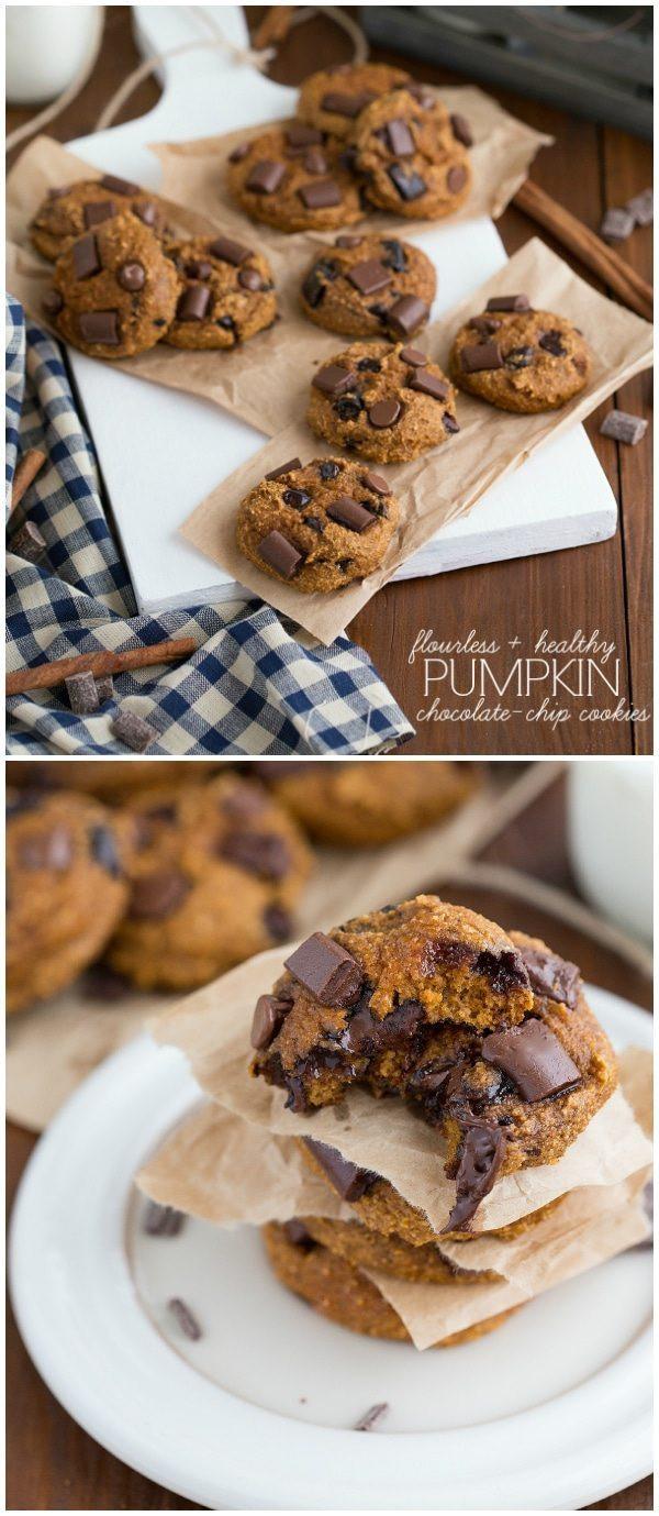 Healthy Pumpkin Cookies  Flourless & Healthy Pumpkin Chocolate Chip Cookies