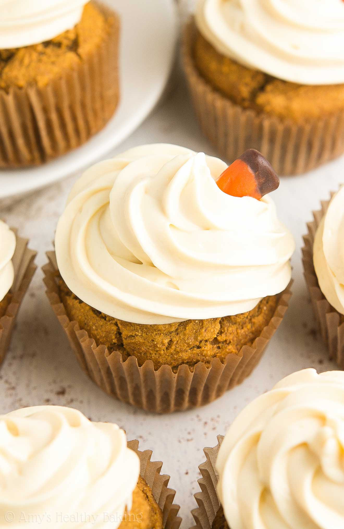 Healthy Pumpkin Cupcakes  Healthy Pumpkin Cupcakes with Cream Cheese Frosting