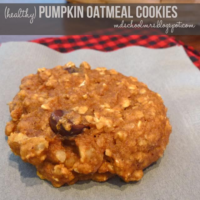 Healthy Pumpkin Oatmeal Cookies  MD School Mrs Healthy Pumpkin Oatmeal Cookies